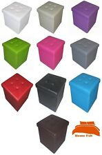 New Quilted Top Folding Storage Ottoman Seat Toy Storage Box Faux Leather Pouffe