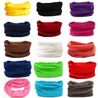 Unisex Solid Colors Scarf Tube Bandana Head Face Mask Neck Gaiter Snood Headwear