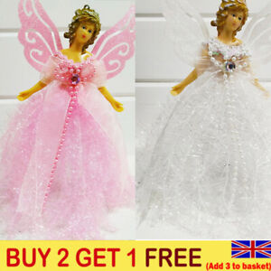 22cm Christmas Angel Fairy Tree Topper Pink Silver Blue Red White Decoration