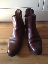 TRICKERS in Pelle Marrone Chelsea Stivali UK 7 COUNTRY GENT