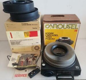 Kodak Carousel 750H Slide Projector w  Orginal Box with 7 Trays & Remote Vintage