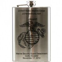 Laser Engraved 8 oz Stainless Steel Hip Flask