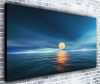 Yellow Sunset Décor Panoramic Canvas Wall Art Print Framed XXL 55 inch x 24 inch