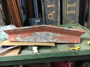 "circa 1870 PEAKED victorian window HEADER pediment lintel OLD red paint 42.5"" L"