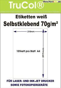 1 - 1000 Etiketten DIN A4 Bogen Selbstklebend 210 x 297 mm Papier weiß Aufkleber