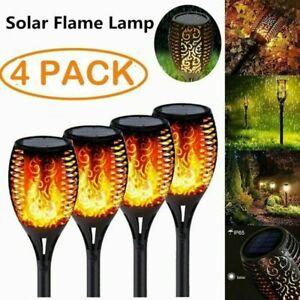 4er Solarleuchte LED Garten Beleuchtung Solar Licht Lampe Fackel Leuchte Flamme