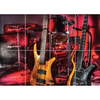 Drums Guitars Bass Music  Giant Wall Mural Art Poster Print 47x33 Inches