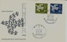 BRD FDC MiNr 367x-368x (5f) Europa (CEPT) 1961 -Vereinigung-Staatenbund-Politik-
