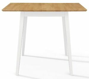 Small Solid Wooden Drop Leaf Kitchen Dining Table in White and Oak Finish