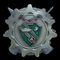 4TH Tank Battalion FIRST ROUND ON US! CHALLENGE COIN US MARINES PIN UP TANKER