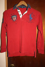 Polo Ralph Lauren Big Pony #9 Red Youth Long Sleeve Polo Shirt Size M 10-12
