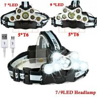 100000LM 7/9 T6 LED Headlamp Torch 18650 USB Headlight Rechargeable Flashlight