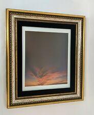 Vtg Wood Frame Carved Gilt 16 X 18 Non Glare Glass Gold and Silver Leaf w/ Black