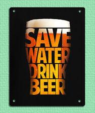 Placa Letrero de Metal Cerveza Gracioso ahorrar agua Bebida Bar Mancave imagen de estaño 20 X 15 Cm
