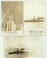 rppc x 3 - MILITARY - BATTLESHIP FORCE IN FULL REGALIA - CUBA COAST - 2-22-1917