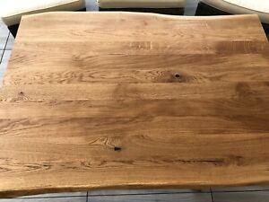 Massivholz Tischplatte mit einzigartiger Baumkante Eiche 140 X 90 cm