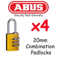 Combination Padlocks - Resettable ABUS 20mm  x4  BULK LOT High quality - YELLOW