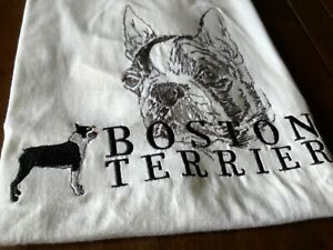 Boston Terrier Embroidered Dog T-Shirt  Free Shipping!