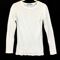 Vince Womens Size Small Long Sleeve Shirt White Crew Neck Top Pima Cotton Tee