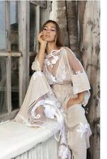 Fillyboo Kimono Boho Daisy Chain Embroidered Maxi Dress Sz XS Linen No Belt