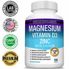 Magnesium Zinc Vitamin D3 Calcium 1786 MG Complex (100 Tablets)-High Absorption