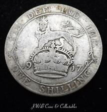 1917 George V Silver Shilling Coin - Great Britain