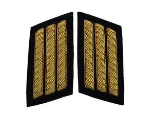 Collar Insignias pair, black back ground, 3 Gold Bar, American Civil War, New