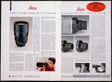 2x LEITZ Datenblatt Reklame LEICA TELESKOP-OKULAR / APO SUMMICRON Werbung (X2709