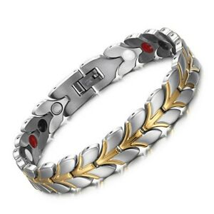 Mens Gold Silver Energy Bracelet Super Strong Medical Magnets Bangle Wristband
