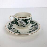 Homer Laughlin Vintage Tea Coffee Cup Saucer Set Demitasse White Rose Gold Trim