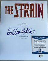 """""""THE STRAIN""""  GUILLERMO DEL TORO SIGNED 8x10 Cover Script Photo Beckett Cert BAS"""