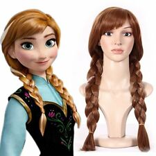 Frozen Snow Queen Anna Wig Brown Long Braid Hair Costume Cosplay Wig + Wig Cap