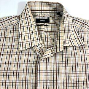 Boss Hugo Boss Mens Shirt Sz 16.5 Two Ply Long Sleeve Lightweight