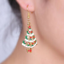 Christmas Crystal Earrings Tree Earings Dangle Gold Tone Girls Jewelry Party
