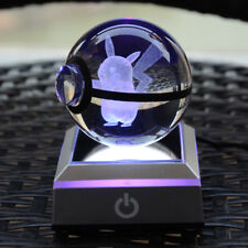 3D Pokemon Pikachu Crystal ball Night LED USB touch 7 color changing desk light