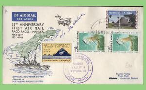 Samoa 1966 Signed Flight cover with tied label, Apia - Wallis & Futuna