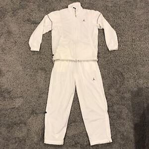 NIKE AIR JORDAN men's Large TRACK SUIT JACKET + Pants white w/ Red snap pockets