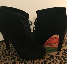 ROSEGOLD GENIE BLACK SUEDE LACE UP  BOOTS BOOTIES 36/6
