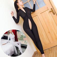 Women Sexy Long Sleeves Bodysuit Zipper Jumpsuit Ladies Striped Catsuit Clubwear