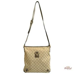 Authentic GUCCI Beige GG Monogram Canvas Abbey D-Ring Large Messenger Bag 131326
