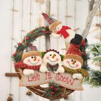 Christmas Wreath Garland Door Wall Hanging Ornament Decor Rattan Doll Toy