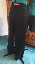 Shanghai Tang Black Linen/Silk Straight Leg Qipao Dress Pants Size 6