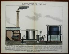 Manufacture of Coal Gas Educational Diagram w/ Explanation 1850's lovely print
