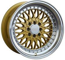 XXR 536 WHEEL 15X8 4X100/114.3 +20 GOLD RIM FITS CIVIC E30 MIATA COROLLA CRX