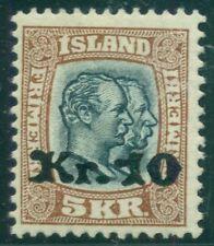 ICELAND #143 10kr on 5kr Ovpt, og, LH, VF, Scott $450.00