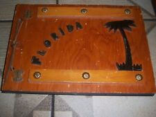 Sweet Vintage Souvenir Photo Album Book Florida Palm Tree Cedar Wood Wooden