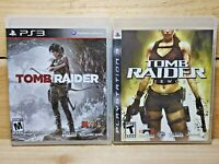 PS3 Video Game Lot Tomb Raider & Tomb Raider Underworld CIB Tested Playstation 3
