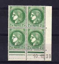 FRANCE YVERT n° 375 neuf avec charnière - bloc de 4 coin daté