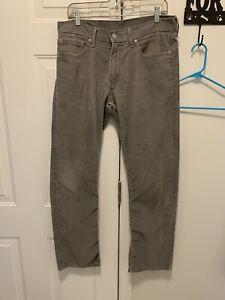 Men's Levis Corduroy 514 Pants 34 X 32 Gray White Tab