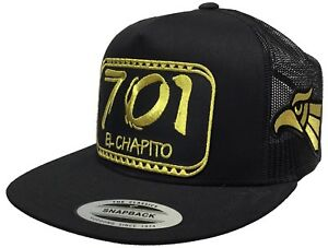 EL CHAPITO 701 EL CHAPO GUZMAN MEXICO HAT 3 LOGOS GOLD 2 NEW EAGLES BLACK MESH